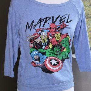 Baby Blue 3/4 Length Sleeve Marvel Superhero Tee